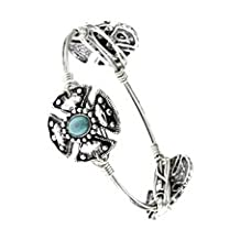 Celtic Cross, Silver Tone Metal Bangle w/ Teal Accent Beads - Materials: Metal - Length: Diameter: 2.5 Inch