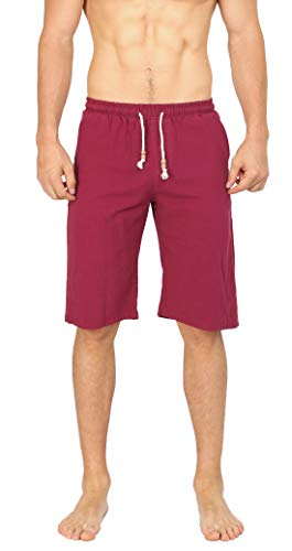 WULFUL Men's Casual Classic Fit Shorts Drawstring Summer Beach Linen Shorts Wine - Classic Drawstring Shorts