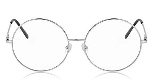 SunnyPro Non Prescription Eyeglasses Silver Clear Lens For Women And Men - Vintage Looking Eyeglasses