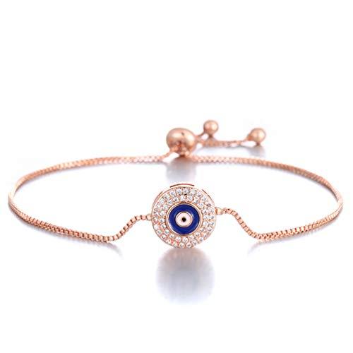 Gold Evil Eye Jewelry - SAKAIPA Adjustable Cubic Zirconia Cute Slider Tennis Gold Plated Butterfly Bracelet Women Jewelry (Rose Gold Evil Eye)