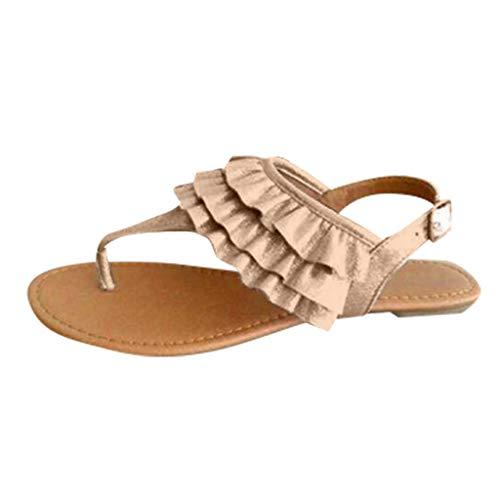 ASOBIMONO Women's Strappy Ankle Strap Thong Sandal Summer Flats Beach Clip Toe Gladiator Sandals Beige