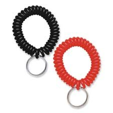 (SteelMaster Wrist Coil with Key Ring, Assorted, 10/Box)