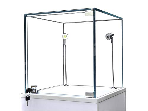 (SC-PED-W-L) Pedestal Exhibition Stand Display Case Retail, Jewelry Display, Museum, Collectible, Tempered Glass, White Finished LED Light. Comes Lock. Size: Large