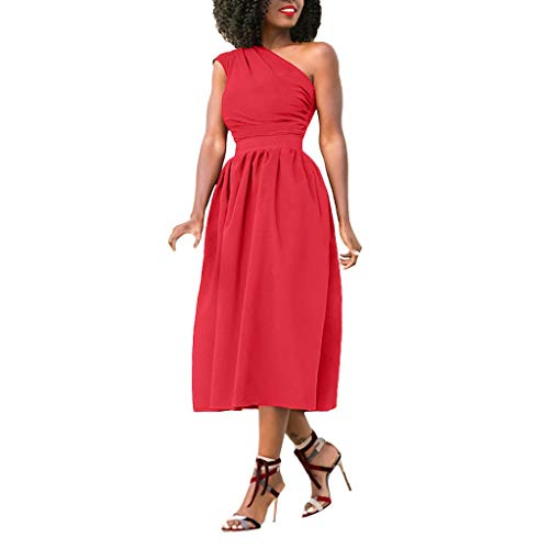Toimothcn Women One Shoulder Formal Dress Casual Prom Gown Party Dress(Watermelon ()