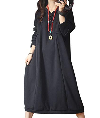 YESNO YX4 Women Casual Loose Hooded Sweatshirt Dress Fleece Lined Long Sleeve Pockets