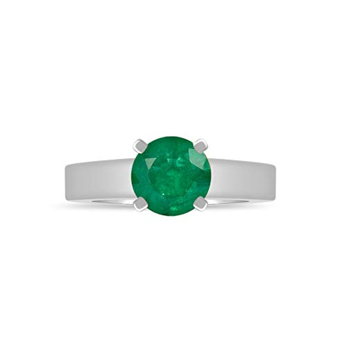 - DiscountHouse4you Simulated Emerald Birthstone Cathedral Solitaire Engagement Wedding Ring Gift for Women Girl 14k White Gold Finish