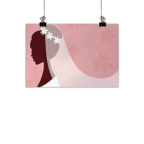 (Anzhutwelve Bridal Shower Art Oil Paintings Bride in Wedding Dress on Pink Backdrop with Veil Celebration Image Canvas Prints for Home Decorations Light Pink and White 20