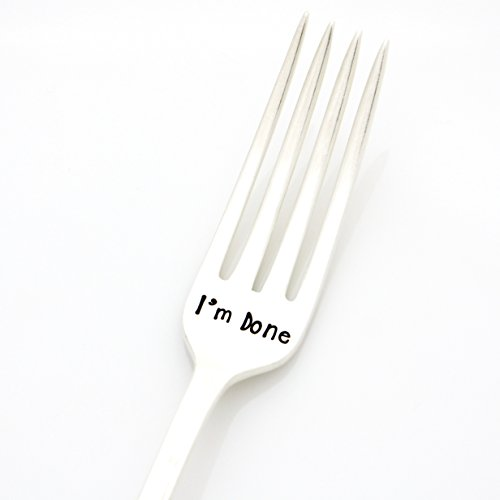 Hand Stamped Vintage Fork, ''I'm Done''. Retirement Gift, Stamped Silverware by Milk & Honey. Part of the Martha Stewart American Made Market. by Milk & Honey®