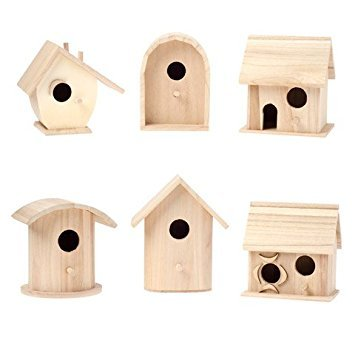 (Darice Bulk Buy DIY Wood Birdhouse Wren Promo Assortment 5-7 inches Each (6-Pack) 9180-09)