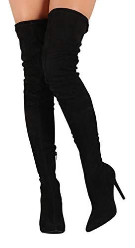 (CAMSSOO Women's Pointy Toe Side Zipper Thigh High Stiletto Heel Boots Black Velveteen Size 9 EU41)