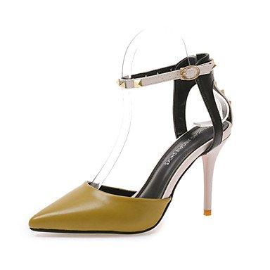 Casual Vestir talón Primavera caqui 5 de caminando CN38 5 Club Zapatos US7 EU38 negro UK5 Verano mujer Tacones blanco hebilla Stiletto PU 5YqvwXY