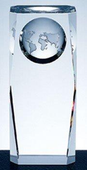 Optical Crystal Globe Column Award - Large