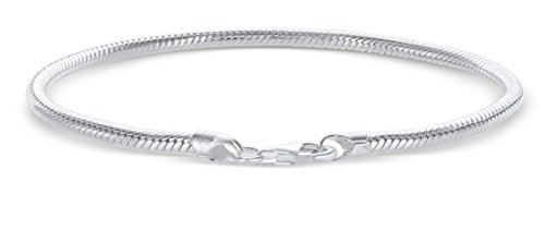 925 Sterling Silver Italian 3mm Magic Snake Chain Crafted Bracelet for European Bead Charms- Lobster Claw Clasp (9.00)