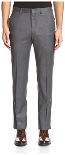 Grey Wool Trousers (Franklin Tailored Men's Solid Flannel Flat Front Tyler Trouser, Grey, 36 US)