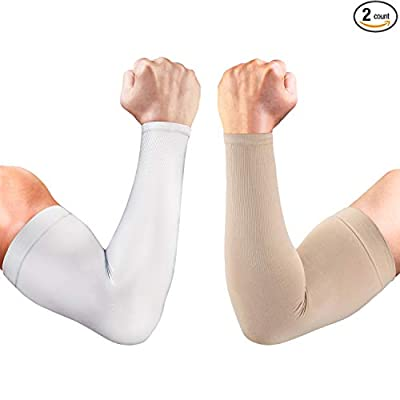 aegend 2 Pairs UV Protection Cooling Arm Sleeves UPF 50 Sun Sleeves for Men Women Youth