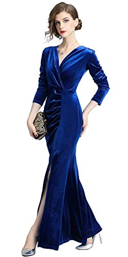 Velvet Evening Formal 90s Ababalaya Bodycon Slit Women's Long Side Gown Sapphire Retro tZffpqw