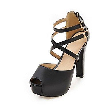 LvYuan Tacón Robusto-Innovador Confort-Sandalias-Informal Fiesta y Noche Vestido-Semicuero Materiales Personalizados-Negro Rosa Blanco Beige Black