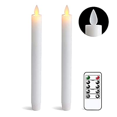 DRomance White Flameless Taper Candles with Remote and Timer, Moving Wick LED Flickering Window Candles Battery Operated 0.78 x 9.5 Inches Real Wax Amber Yellow Christmas Decoration Candles Set of 2: Home Improvement