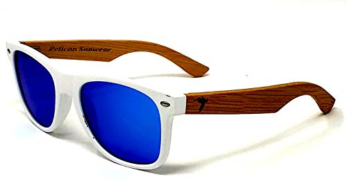 (Wooden Polarized Sunglasses - Handmade Real Bamboo Wood Arms Wayfarer Style by Pelican Sunwear (White Frame, Blue))