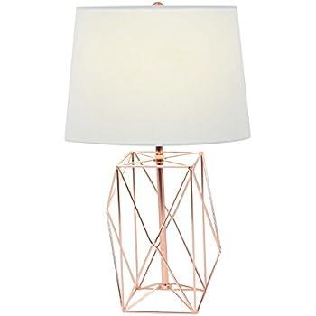 Amazon Com Deco 79 58662 Asymmetrical Metal Wire Table Lamp White Copper Home Amp Kitchen