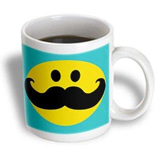 3dRose mug_113096_2 Yellow Smiley Face with Black Mustache-Teal Blue Turquoise-Moustache Fun Fancy Gentleman Cartoon Ceramic Mug, 15-Ounce