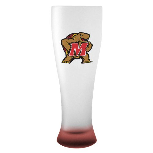 NCAA Maryland Terrapins Frosted Pilsner Glass with Bottom Spray, 23-ounce -