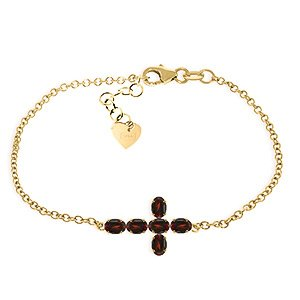 QP bijoutier grenat naturel Bracelet en or 9 carats, 1.70ct 4998Y-Ovale