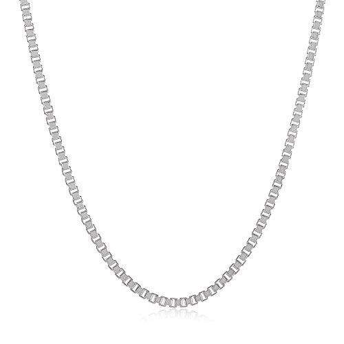 Sterling Silver Italian Made Box - 1.6mm 925 Sterling Silver Nickel-Free Box Chain Necklace, 24 inches - Made in Italy + Cleaning Cloth