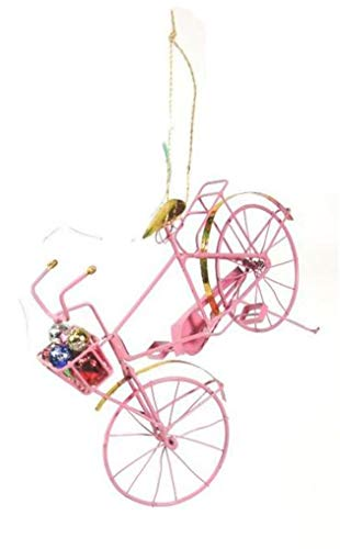 Cody Foster Retro Holiday Pink Bike Bicycle Christmas Village Ornament (Holiday Bicycle Ornament)