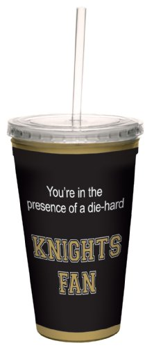 Tree-Free Greetings cc34589 Knights College Football Fan Artful Traveler Double-Walled Cool Cup with Reusable Straw, (College Football Fan Gear)