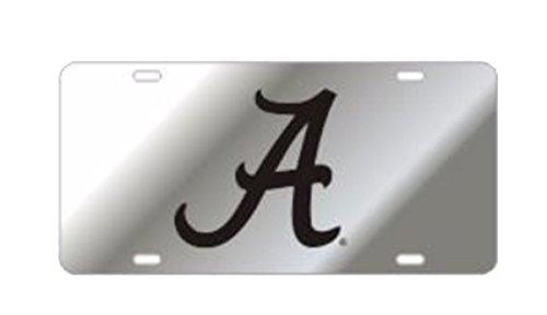 Craftique Alabama Crimson Tide Laser Cut Scripted A Mirrored Car Tag-Silver/Black ()