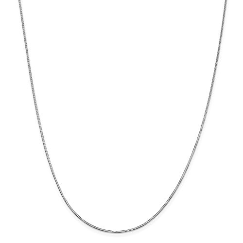 14k White Gold 1.40mm Octagonal Snake Chain Necklace (Solid Octagonal Snake)