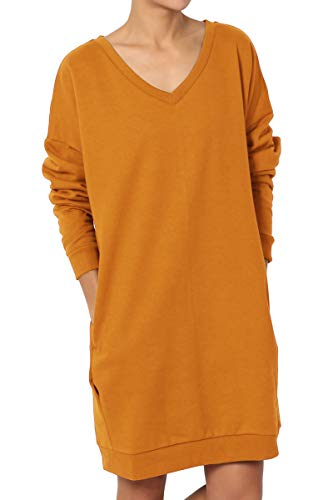 TheMogan Women's Casual V-Neck Pocket Loose Sweatshirt Tunic D. Mustard 2XL