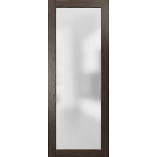 Frosted Lite Glass Door Panel Slab 30 x 80 | Planum 2102 Chocolate Ash | Use as Barn Pocket Sliding Closet | Solid Wood Core Interior Door