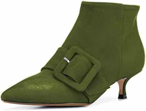 9a1320d45092 XYD Women Pointed Toe Suede Ankle Boots Kitten Low Heels Slip On Side  Zipper Dress Booties