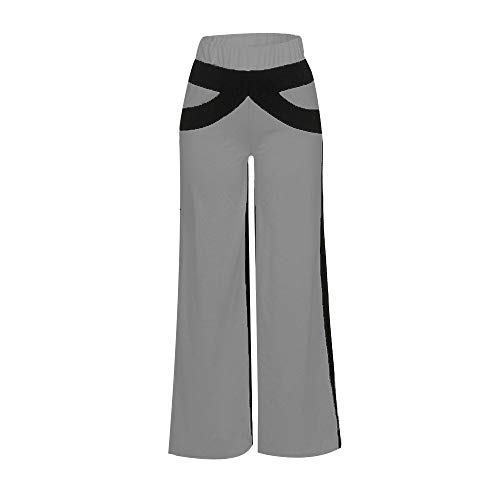 Women Patchwork Bell Bottoms Flare Trousers Mid Waisted Wide Leg Yoga Pants ()