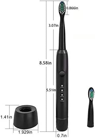 HXDWLKJ Black USB Wireless Rechargeable Electric Toothbrush Sonic Toothbrush 3 Mode Waterproof IPX 7 Dental Caries Prevention Plaque Removal Dental Caries Suppression Oral Care