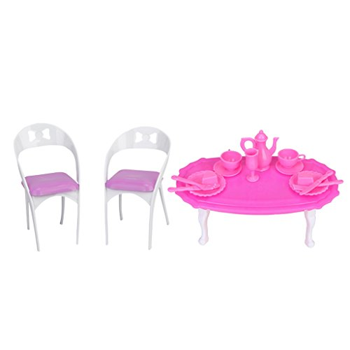 Baoblaze 1/6 Scale Table Tableware Chair Kitchen Furniture for Barbie Dollhouse Dining Rooms Action Figures Accessories Kids Pretend Play