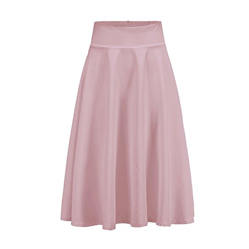 Harsuccting Half Pleated High Waist Knee-Length Casual Girls Skirts Blush Pink 6 by Harsuccting
