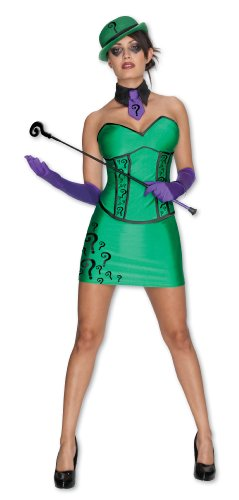 Secret Wishes DC Comics Super Villain Riddler Costume, Green, Large (Riddler Halloween Costumes)