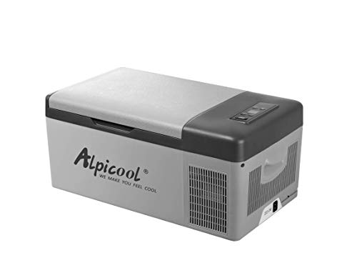 Alpicool C15 Portable Refrigerator 16 Quart(15 Liter) Vehicle, Car, Truck, RV, Boat, Mini fridge freezer for Driving, Travel, Fishing, Outdoor and Home use -12/24V DC and 110-240 AC ()