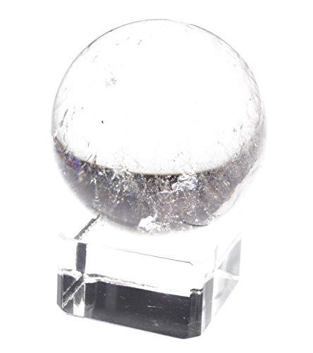 Yippee30~40mm White Crystal Quartz,Rose Pink Quartz,Tiger's Eye,Lapis Lazuli, Green Aventurine,Amethyst,Citrine,Black Obsidian Gem Stone Sphere- (1 Point) with Glass Stand (Crystal ()