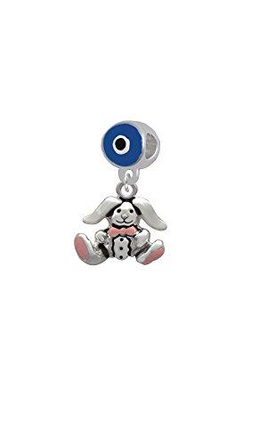 Sitting Bunny with Easter Egg - Blue Evil Eye Charm Bead (Evil Easter Bunny)