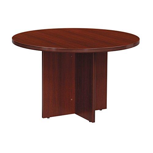Round Wood Table Top w X-Shaped Pedestal Base - Napa (47 in. Dia/Mahogany) - Brown Napa Napa Wood