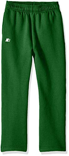 Starter Boys' Open-Bottom Sweatpants with Pockets, Amazon Exclusive, Team Outfeild Green, L (12/14) (Green Sweatpants Kids)