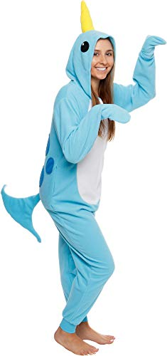 Silver Lilly Slim Narwhal Animal Pajamas - Adult One Piece Cosplay Costume