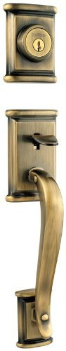 (Kwikset 801ADHLIP-5S Ashfield Double Cylinder Exterior Handleset Smart Key Antique Brass Finish)