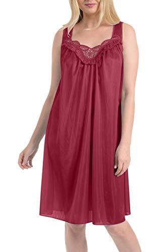 Ezi Women's Satin Silk Sleeveless Lingerie Nightgown,Fuschia,3X (Nylon Nightie)