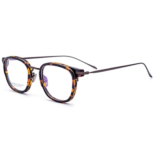 FONEX 100% Commerce Titanium Temple Glasses Frame Prescription Spectacles Eyeglasses (leopard brown, 47)