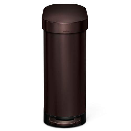 (simplehuman Slim Step Trash Can with Liner Rim, Dark Bronze Stainless Steel, 45 L / 12 Gal)